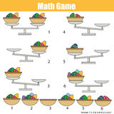 Mathematics educational game for children. balance the scale. Easter eggs in basket. Mathematics educational game for children. Balance the scale. Learning royalty free illustration