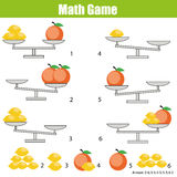 Mathematics educational game for children. balance the scale. Learning counting, mathematical equation, weights and algebra Stock Photography
