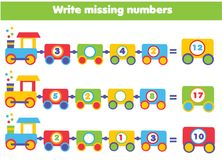 Mathematics educational game for children. Write the missing numbers. Mathematics educational game for children. Complete the row, write missing numbers Stock Photography