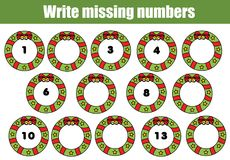 Mathematics educational game for children. Write the missing numbers. Christmas theme Royalty Free Stock Images