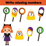Mathematics educational game for children. Write the missing numbers. Halloween theme. Mathematics educational game for children. Complete the row, write missing Stock Photos