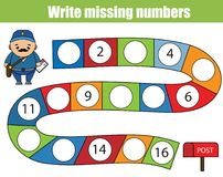 Mathematics educational game for children. Write the missing numbers. Mathematics educational game for children. Complete the row, write missing numbers royalty free illustration