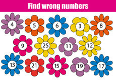 Mathematics educational game for children. Find wrong numbers. In row Stock Image
