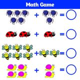 Mathematics educational game for children. Learning subtraction worksheet for kids, counting activity. Vector illustration.  Stock Image