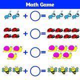 Mathematics educational game for children. Learning subtraction worksheet for kids, counting activity. Vector illustration.  Royalty Free Stock Image