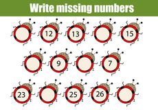Mathematics educational game for children. Write the missing numbers. Mathematics educational game for children. Complete the row, write missing numbers Stock Images