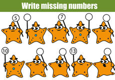 Mathematics educational game for children. Write the missing numbers Stock Photos