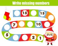 Mathematics educational game for children. Write the missing numbers. Help Santa Claus find road. Christmas, New Year theme fun fo vector illustration