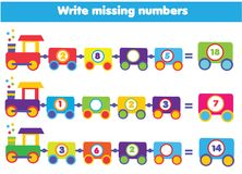 Mathematics educational game for children. Write the missing numbers. Mathematics educational game for children. Complete the row, write missing numbers Royalty Free Stock Images