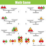 Mathematics edukacyjna gra dla dzieci balansuje skala Zdjęcia Royalty Free