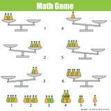 Mathematics edukacyjna gra dla dzieci balansuje skala Zdjęcie Royalty Free