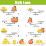 Mathematics edukacyjna gra dla dzieci balansuje skala Fotografia Stock