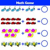 Mathematics edukacyjna gra dla dzieci Uczenie odejmowania worksheet dla dzieciaków, odliczająca aktywność również zwrócić corel i Zdjęcie Royalty Free