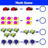 Mathematics edukacyjna gra dla dzieci Uczenie odejmowania worksheet dla dzieciaków, odliczająca aktywność również zwrócić corel i Fotografia Royalty Free
