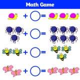 Mathematics edukacyjna gra dla dzieci Uczenie odejmowania worksheet dla dzieciaków, odliczająca aktywność również zwrócić corel i Obraz Royalty Free