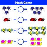 Mathematics edukacyjna gra dla dzieci Uczenie odejmowania worksheet dla dzieciaków, odliczająca aktywność również zwrócić corel i Fotografia Stock