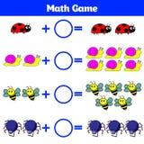 Mathematics edukacyjna gra dla dzieci Uczenie odejmowania worksheet dla dzieciaków, odliczająca aktywność również zwrócić corel i Zdjęcia Royalty Free