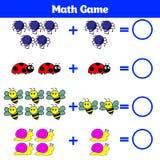 Mathematics edukacyjna gra dla dzieci Uczenie odejmowania worksheet dla dzieciaków, odliczająca aktywność również zwrócić corel i Obraz Stock