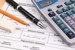 Mathematics, Equations close-up. Solving Mathematical Problem. Stock Photography