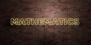 MATHEMATICS - fluorescent Neon tube Sign on brickwork - Front view - 3D rendered royalty free stock picture Royalty Free Stock Photography