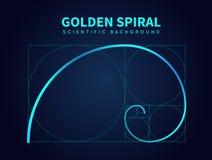 Mathematics formuła Fibonacci spirala Złota współczynnik sekci reguła pochodzenie wektora abstrakcyjne ilustracji