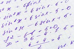 Mathematics formula. On paper, abstract education background Royalty Free Stock Photos