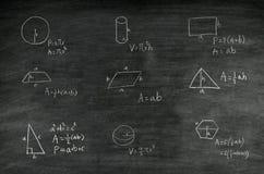 Mathematics formula on blackboard. Mathematics formula of geometric shape written on blackboard stock image