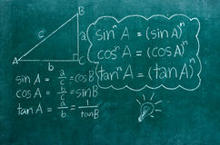 Mathematics formulas on a blackboard Stock Photography