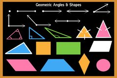 Mathematics-Geometric Angles and shapes studied in schools royalty free illustration