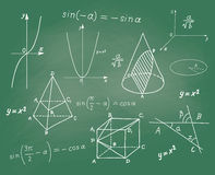 Mathematics - geometric shapes and expressions sketches on school board Stock Photo