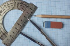 Mathematics Geometry Tool For Student In Math Class With Copy Space For Text On Paper Graph Background Stock Photo