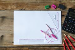 Mathematics geometry tool for student in math class with copy s. School supplies used in math class, geometry or science. Mathematics geometry tool for student stock photo