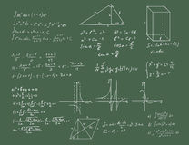 Mathematics and geometry vector on green Stock Photography