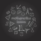 Mathematics Hand Drawn Icons Set. With elements of geometry and algebra on blackboard isolated vector illustration Royalty Free Stock Images