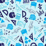 Mathematics icons blue seamless pattern Royalty Free Stock Photo
