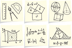 Mathematics icons  on yellow memo sticks Royalty Free Stock Photos