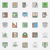 Mathematics ikony Ustawiać Zdjęcia Stock