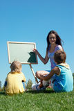 Mathematics lesson outdoor. Mathematics lesson on open air Royalty Free Stock Images