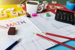 Mathematics Math Algebra Calculus Numbers Concept. School supplies used in math class, geometry or science. Mathematics geometry tool for student in math class royalty free stock photos