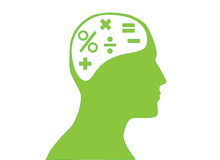 Mathematics in mind. Mathematic symbols in human mind royalty free illustration