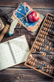 Mathematics notes on the school desk royalty free stock image