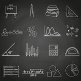 Mathematics outline icons set on blackboard eps10 Stock Images