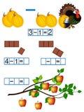 Mathematics, poufałość z minus znakiem, odejmowanie Zdjęcie Stock