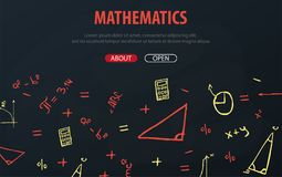 Mathematics School subject with hand-draw doodles. Education banner. Vector illustration. vector illustration