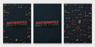 Mathematics School subject with hand-draw doodles. Education banner. Vector illustration. stock illustration