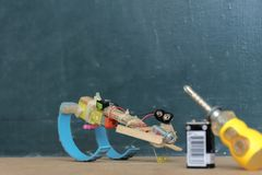 A simple robot invention is the beginning of innovation. stock photography