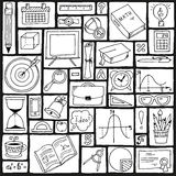 Mathematics science theme. Seamless hand drawn pattern about school and learning.  Royalty Free Stock Photos