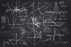 Mathematics sketches on blackboard Royalty Free Stock Photos