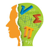 Mathematics Student Head Slilhouette. Stylized Male Head silhouette with mathematics symbols. Vector available Royalty Free Stock Photography