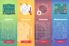 Mathematics sztandary Płaski wektorowy edukaci pojęcie matematyka, algebra, rachunek Obrazy Stock